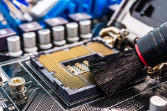 Nettoyage d'ordinateur Photo stock
