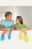 Nettoyage de couples Photos stock