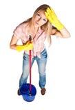 Nettoyage de femme photos libres de droits