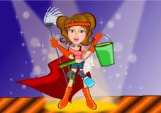 Nettoyage de femme dans le concept de super héros Images libres de droits