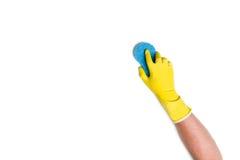 Nettoyage de main sur un fond blanc Photo stock