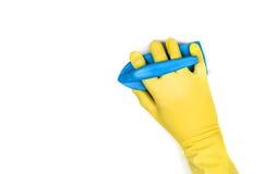 Nettoyage de main sur un fond blanc Images stock