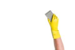 Nettoyage de main sur un fond blanc Photographie stock