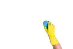 Nettoyage de main sur un fond blanc Photo libre de droits