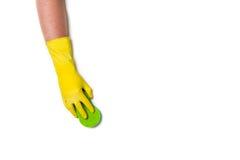 Nettoyage de main sur un fond blanc Image libre de droits
