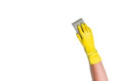 Nettoyage de main sur un fond blanc Photos libres de droits