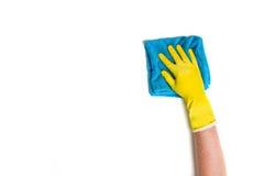 Nettoyage de main sur un fond blanc Images libres de droits