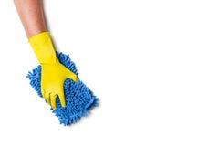 Nettoyage de main sur un fond blanc Photographie stock libre de droits