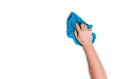 Nettoyage de main sur un fond blanc Image stock