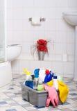 Nettoyage de salle de bains Images libres de droits