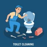 Nettoyage de toilette, service de tuyauterie Vecteur illustration de vecteur