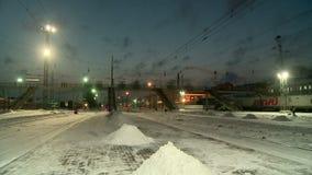 Nettoyage des voies de chemin de fer de la neige banque de vidéos