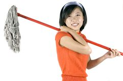 Nettoyage heureux de fille Photo libre de droits