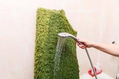 Nettoyage humide de tapis ? la maison Lavage du tapis dans la salle de bains photographie stock libre de droits