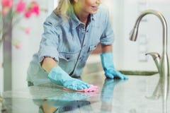 Nettoyage pédant de femme et de ménage image stock