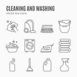 Nettoyant, ligne icônes de lavage Image libre de droits