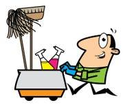 Nettoyeur de dessin animé Photos stock