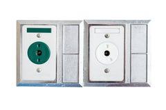 Nettoyez à l'aspirateur la canalisation et la canalisation de l'oxygène dans la salle patiente images libres de droits