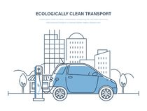 Nettoyez écologiquement le transport Voiture électrique, machine, chargeant à la station service illustration stock