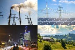 Nettoyez contre l'énergie sale Panneaux solaires et turbines de vent contre le fu Images libres de droits