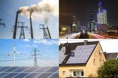 Nettoyez contre l'énergie sale Panneaux solaires et turbines de vent contre le fu Photo libre de droits