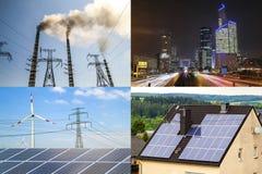 Nettoyez contre l'énergie sale Panneaux solaires et turbines de vent contre le fu Photographie stock libre de droits
