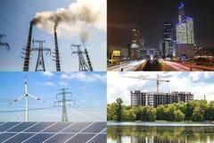 Nettoyez contre l'énergie sale Panneaux solaires et turbines de vent contre le fu Images stock
