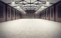 Nettoyez l'intérieur vide d'entrepôt Image libre de droits