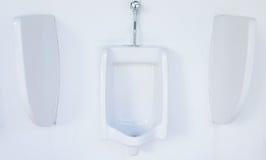 Nettoyez la pièce publique de toilette d'hommes, carte de travail Image stock