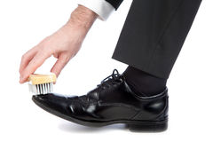 Nettoyez les chaussures image stock