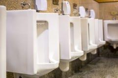 Nettoyez les urinoirs blancs dans la salle de bains du ` s des hommes photos libres de droits