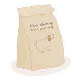 Nettoyez svp après votre animal familier Paquet de papier de dunette pour la merde Chien de vecteur illustration libre de droits