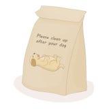 Nettoyez svp après votre animal familier Paquet de papier pour l'excrément Chien de vecteur illustration libre de droits