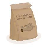 Nettoyez svp après votre chien Paquet de papier pour la merde Sac de dunette de vecteur illustration stock