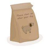 Nettoyez svp après votre chien Paquet de papier pour un morceau de merde Animal familier de vecteur illustration de vecteur