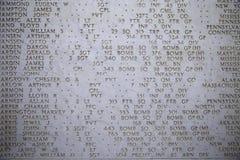 NETTUNO - 06 april: De Namen van gevallen militairen bij oorlog, Amerika Royalty-vrije Stock Foto's