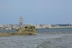 Nettuno, costa italiana e praia Destino do turista fotografia de stock