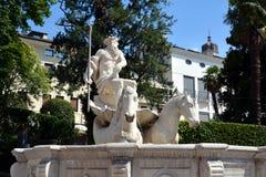 Nettuno fountain white sculpture and trees, in Conegliano Veneto, Treviso, Italy royalty free stock photos