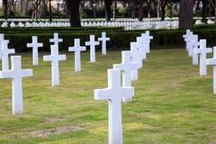 NETTUNO - Kwiecień 06: Grobowowie, Amerykański wojenny cmentarz amerykanin Zdjęcia Stock
