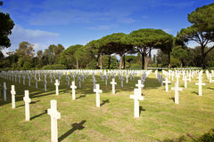NETTUNO - Kwiecień 06: Grobowowie, Amerykański wojenny cmentarz amerykanin Obraz Royalty Free