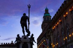 Nettuno na praça Maggiore - Bolonha Foto de Stock Royalty Free