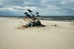 Netwerk die op strand 10 vissen Stock Afbeelding