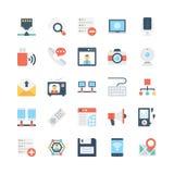 Netwerk en Communicatie Vectorpictogrammen 3 Stock Fotografie