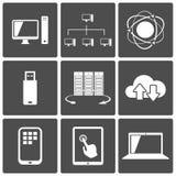 Netwerk en de Mobiele Pictogrammen van Aanslutingen Stock Foto