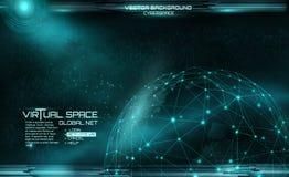 Netwerk en gegevensuitwisseling over aarde in ruimte virtueel Stock Afbeeldingen