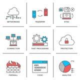 Netwerk en verbindings geplaatste lijnpictogrammen Royalty-vrije Stock Foto