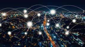Netwerk en Verbindingstechnologieconcept Stock Foto