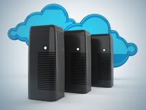 Netwerk en wolk gegevensverwerkingsconcept Stock Foto