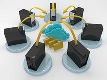 Netwerk en wolk gegevensverwerkingsconcept Stock Afbeelding
