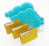 Netwerk en wolken gegevensverwerkingsdossiers in omslagenconcept Royalty-vrije Stock Afbeelding